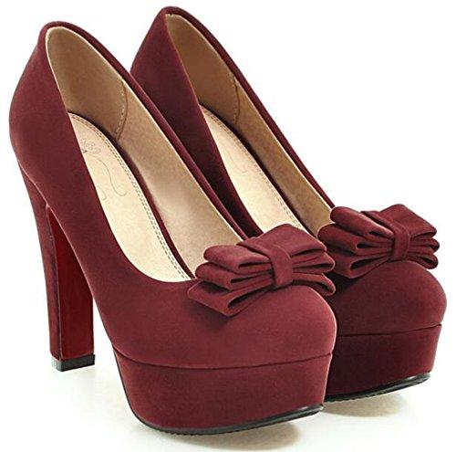 Idifu Womens Piattaforma Piattaforma Tacco Alto Tacco Basso Slip On Faux Suede Pumps Scarpe Con Fiocchi Vino Rosso