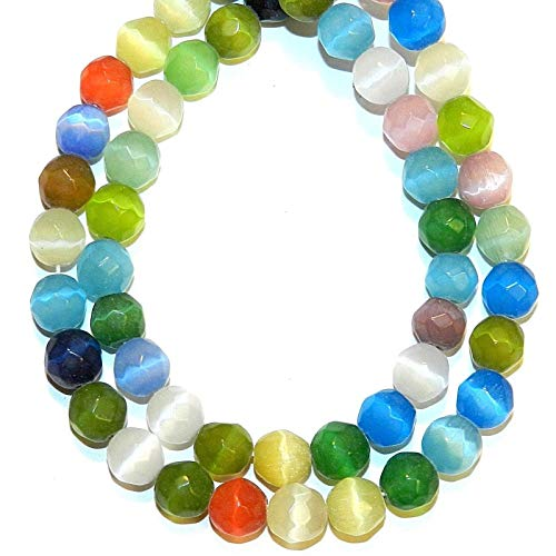Bead Jewelry Making Mixed Color 8mm Faceted Round Fiber Optic Cat's Eye Glass ()