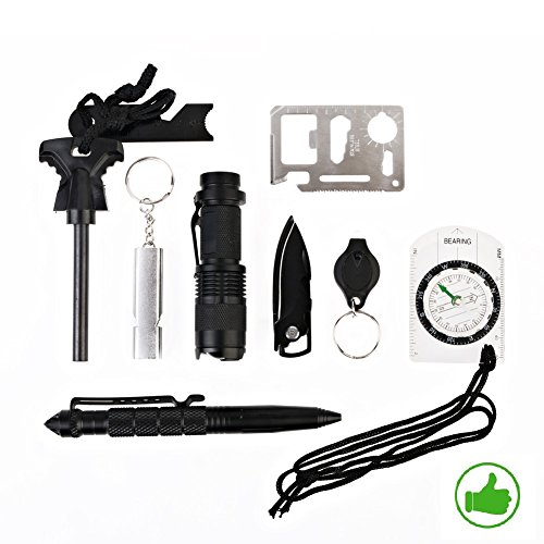 Emergency-Survival-Gear-Kit-10-in-1-Outdoor-Survival-Tool-EDC-with-Fire-Starter-Flashlight-Whistle-Compass-Knife-Saber-Card-for-Camping-Fishing-Kit-Travel-Wild-Adventure-Earthquake-Birthday-Gift