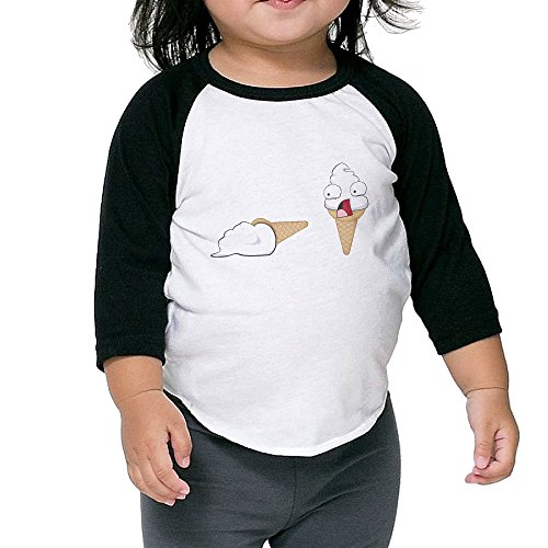 (Customized Graphic Ice Cream Toddler T-shirt 3/4 Sleeves Crew Neck Cotton Soft And Cozy Black Size 3)
