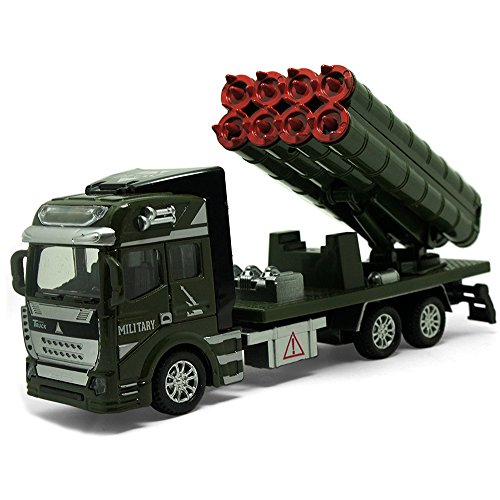 UiiQ Pull Back Toy Cars Military Engineering Cars Playset 1:48 Die-cast Metal Missile Truck Vehicle Toy for Gift Car Collection (Missile Truck)