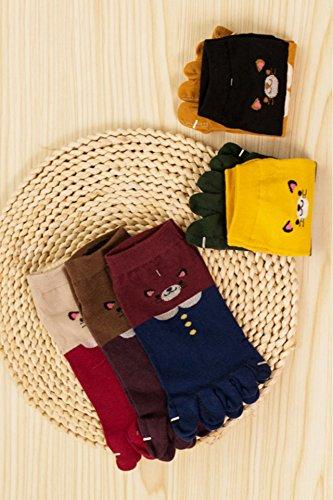 Generic Meng fitted with three pairs of animals fall bear cat cartoon toe socks toe socks toe socks in tube by Generic (Image #4)