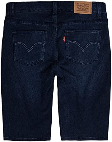 Levi's Girls' Toddler Super Soft Denim Bermuda Shorts, Dark Indigo, 4T