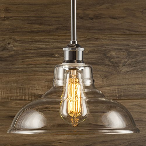 Lucera Stem Mount Factory Pendant Light. Brushed Nickel Fixture with 11-inch Clear Glass Shade, Adjustable Hanging Height, Modern Vintage Farmhouse Kitchen Lamp. UL Listed Linea di Liara LL-P431-BN (Kitchen Lighting Fixtures Hanging)