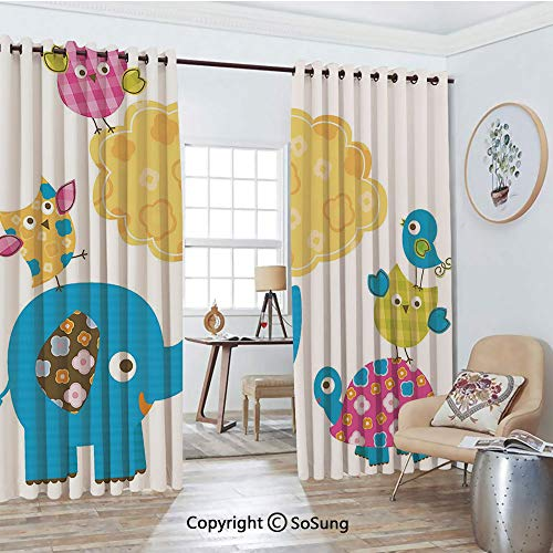 Extra Long and Wide Blackout Curtains,Diverse Cartoon Happy Animals Tortoise Elephant Lovely Yellow Cloud Drawing Style Decorative Thermal Insulated Premium Room Divider Large Size 2 Panel Set,108