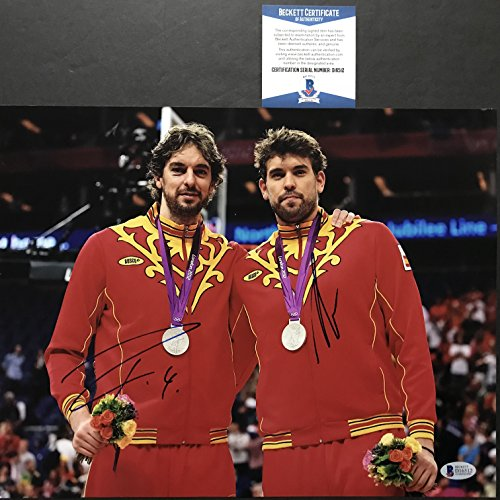 Autographed/Signed Pau & Marc Gasol Team Spain Olympic 11x14 Basketball Photo Beckett BAS -