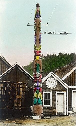 (Wrangell, Alaska - View of the Raven Totempole (16x24 SIGNED Print Master Giclee Print w/Certificate of Authenticity - Wall Decor Travel Poster))