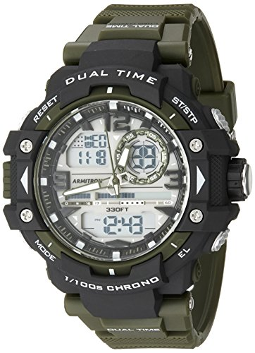 Armitron Sport Men's 20/5062GRN Analog-Digital Chronograph Green Resin Strap Watch