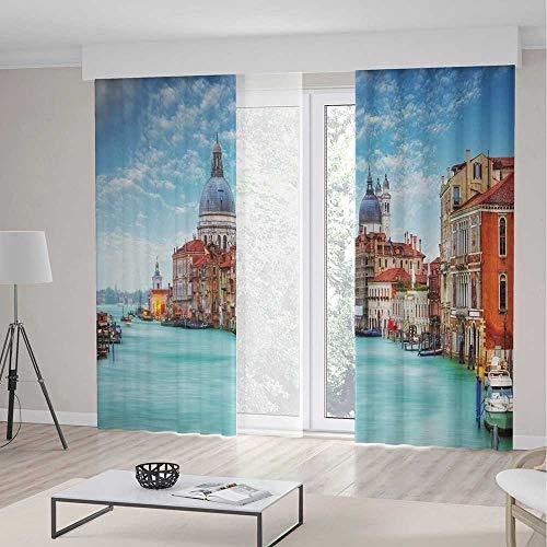 cor Curtains,Grand Canal Basilica Santa Maria della Salute Historical Architecture,Window Drapes 2 Panel Set, Living Room Bedroom,236 W 106 L,Blue Turquoise Orange ()