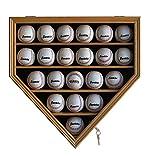 21 Baseball Display Case Cabinet Holder, w/UV Protection, Lockable, B21 (OAK)