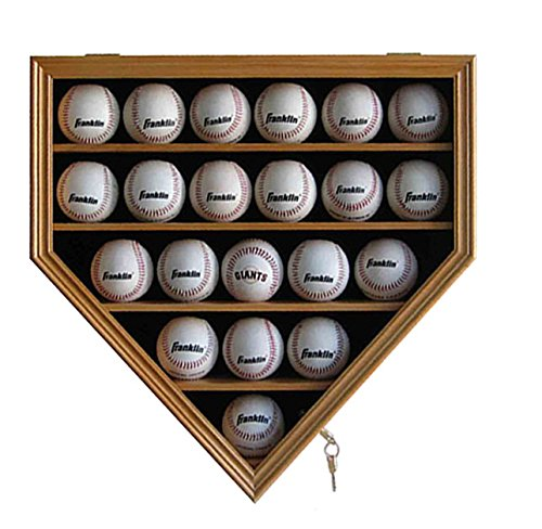 Solid Wood 21 Baseball Display Case Cabinet Holder, w/UV Protection, Lockable, Oak Finish, B21-OA ()