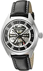 Stuhrling Original Men's 'Legacy' Stainless Steel and Leather Automatic Watch, Color:Black (Model: 598.02)