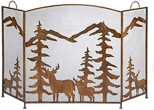 ブロンズ暖炉パネル、ベビーセーフ用鉄メッシュカバー付き大型装飾スタンディングゲート、木材燃焼炉付属品、142cm / 56インチ幅