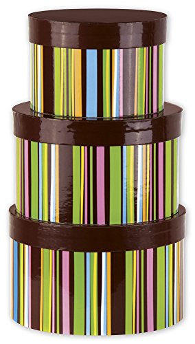Chocolate Stripes 3-Piece Nested Box Sets, Round (1 Set of 3 Nested Boxes) - BOWS-NBS-7