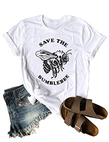 Anbech Save The Bees T Shirt Women Vintage Retro Graphic Yellow Casual Tee Tops (XL, White) (How To Save A Bee)