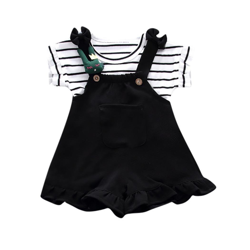 QinMM Conjunto de Camiseta y Petos Pantalón Corto a Rayas de Verano para Bebé Niñas, Camisa Sin Mangas Tops