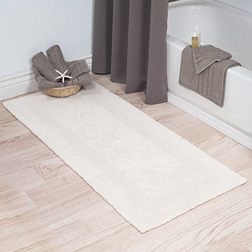 Cotton Bath Mat- Plush 100 Percent Cotton 24x60 Long Bathroom Runner- Reversible, Soft, Absorbent, and Machine Washable Rug by Lavish Home (Ivory)