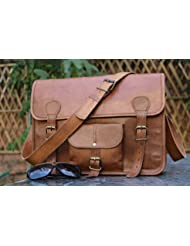 handolederco. 15 Inches Classic Adult Unisex Cross Shoulder Leather Messenger Laptop Briefcase Bag Satchel Brown