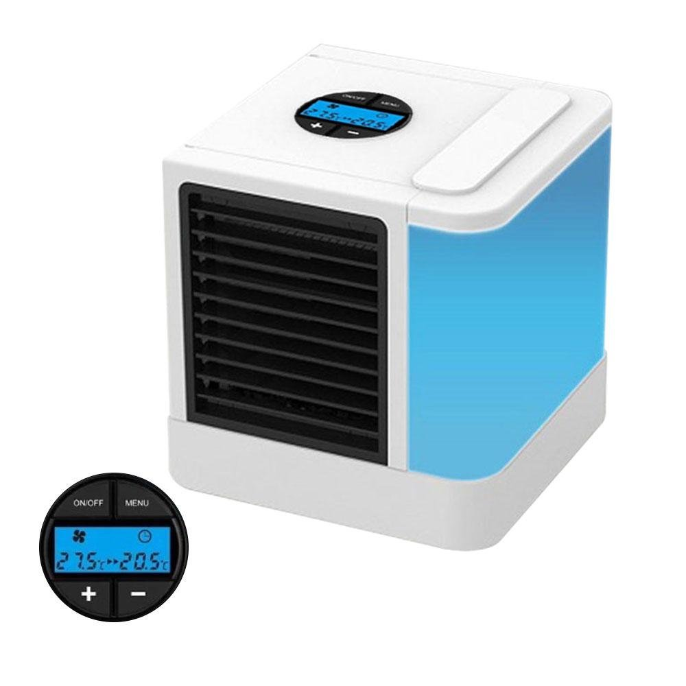 Personal Space Air Cooler 5-in-1 Study Sleep Mini Cooler Mini Fan Air Cooler Humidifier&Purifier 7 Color Adjustable LED Lights 5 Speeds Home Office Desk Device Portable Air Conditioner LCD Display Aolvo