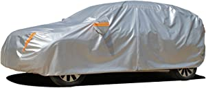 """Kayme 6 Layers SUV Cover Waterproof All Weather for Automobiles, Outdoor Full Cover Rain Sun UV Protection with Zipper Cotton, Universal Fit for SUV (Up to 181"""")"""
