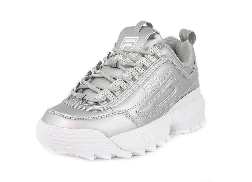 Metallic argent blanc Fila Fila Fila Femmes Blanc Disruptor II Premium Basket bee