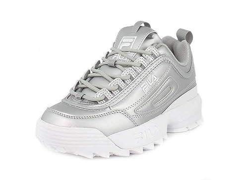 ad2e4a09 Fila Disruptor 2 Premium Metallic Mujeres Zapatillas Moda Silver White -  36.5 EU