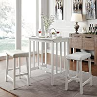 Metro Shop TRIBECCA HOME Nova White 3-piece Kitchen Counter Height Dining Set