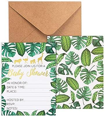 Safari Leaf Baby Shower Supplies Gender Neutral Tropical Baby Shower Raffle Game Set of 50 Green /& White Tropical Safari Leaf Baby Shower Diaper Raffle Tickets