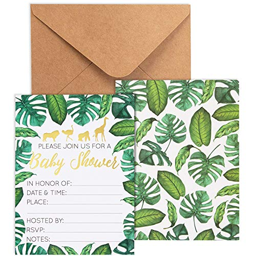 Baby Shower Invites - 36 Fill-in Baby Shower Invitations w/ Envelopes, Tropical Safari Animal Theme, Green Palm Leaves with Gold Foil Designs, Party Supplies for Baby Showers or Parties, 5 x 7 Inches -
