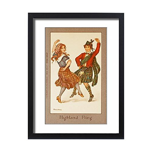 Framed 24x18 Print of Highland Fling by Florence Hardy (Scottish Country Dance Costumes)