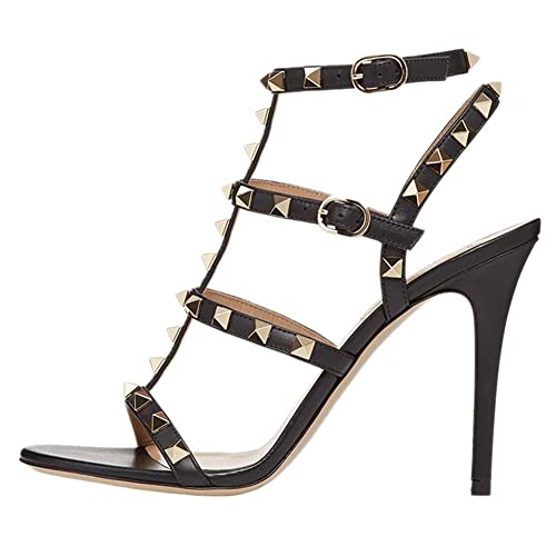 a361d505b9b Amazon.com   June in Love Women's Strappy Ankle Straps Shoes Rivets ...