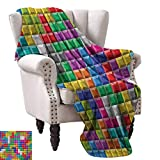 """WinfreyDecor Video Games Warm Blanket Colorful Retro Gaming Computer Brick Blocks Image Puzzle Digital 90s Play Home, Couch, Outdoor, Travel Use 54"""" Wx72 L Multicolor"""
