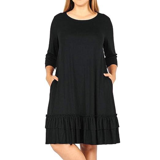 fc82baae6 OCEAN-STORE Fashion Women Solid Plus Size Dresses Three Quarter ...