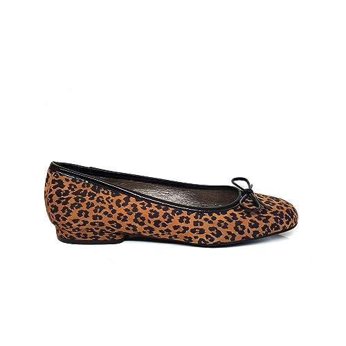 GENNIA COLINCE Leopardo - Bailarinas para Mujer de Cuero y con Mini Tacón  de 1 cm 50a22413c6730