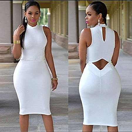 Calistous The Fashion Leisure Sleeveless Backless Dress Design Women