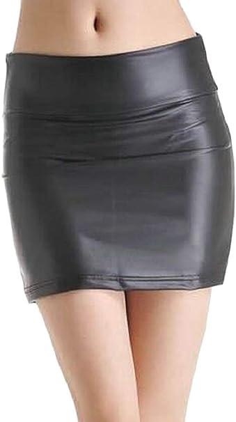 dahuo - Falda Ajustada de Piel sintética para Mujer, Color Negro ...