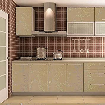 Buy Everperfect Waterproof Pvc Self Adhesive Wallpaper For Kitchen Cupboard Gold Online At Low Prices In India Amazon In
