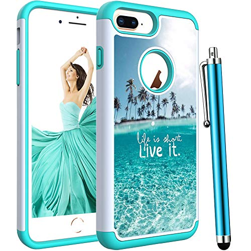 Voanice foriPhone 8 Plus Case,iPhone 7 Plus Case,Shockproof Hybrid Heavy Duty Hard Plastic& Rubber Silicone Dual Layer Rugged Protective Armor for iPhone 6 Plus/iPhone 6s Plus/7 Plus /8 Plus-Teal Sea