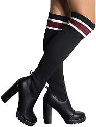 3710b1f6878c AZALEA WANG Knit Sock Top Round Toe Thigh High Lug Sole Platform Chunky High  Heel Chelsea