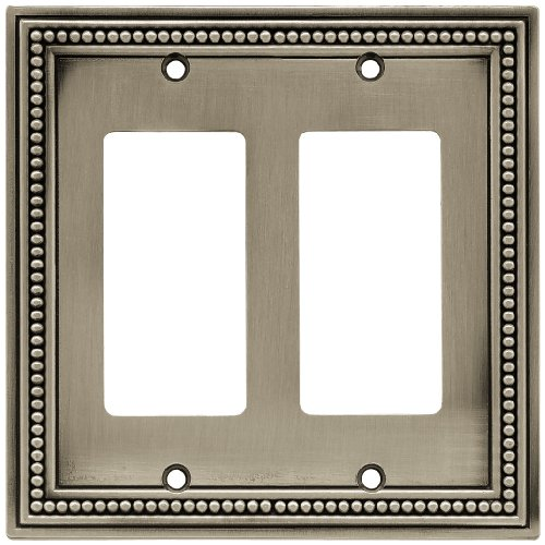 Brainerd 64770 Beaded Double Decorator Wall Plate / Switch Plate / Cover, Brushed Satin Pewter