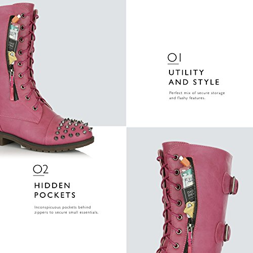 Combat Military up Credit Pocket Booties Knee Pu High Pink Front Buckle Hot Lace Women's Mid Boots Card DailyShoes Studded Exclusive 5CwqXX
