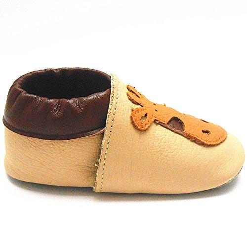 Sayoyo Suaves Zapatos De Cuero Del Bebé Zapatillas jirafa beige