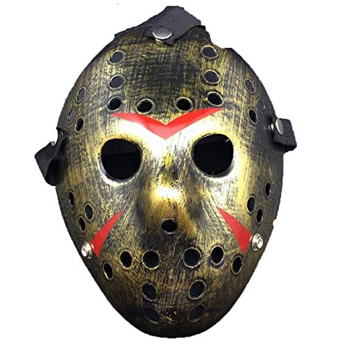 Limado Halloween White Porous Men Mask Jason Voorhees Freddy Horror Movie Hockey Scary Masks for Party Women Masquerade Costumes (Gold) ()