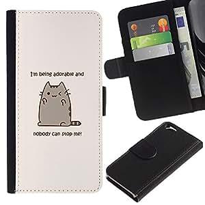 KLONGSHOP // Tirón de la caja Cartera de cuero con ranuras para tarjetas - Adorable personaje de dibujos animados del gato de motivación - Apple Iphone 6 //