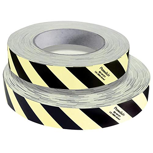 Permalight Photoluminescent Safety Products Black/White Obstacle Marking Tape, Photoluminescent, 1''X64', 82-44151L