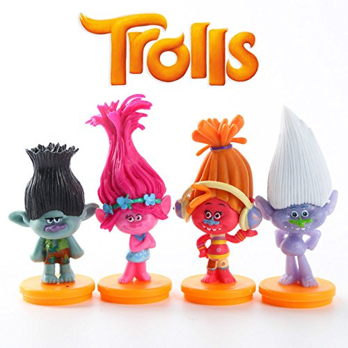 [ganggamtop 4pcs Trolls Poppy Branch DJ Suki Figures Cartoon Toy Kids Set] (Irish Dancing Solo Costumes)
