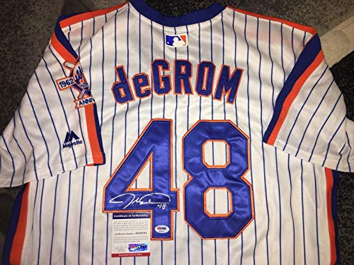 New York Mets Throwback Jersey - Jacob deGrom Signed Jersey - Throwback All Star Ace - PSA/DNA Certified - Autographed MLB Jerseys