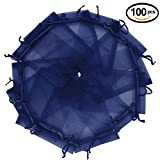 Wuligirl 100pcs Organza Pouches Bags 5x7 Inch with Drawstring Transparent Storage Jewelry Lipstick Baby Shower Party Wedding Favor Cookies Candy Seashell Bags for Women(Navy Blue 5x7'')