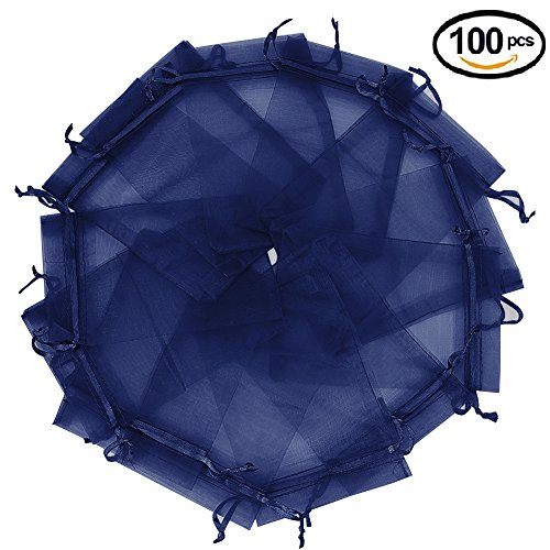 Wuligirl 100pcs Organza Pouches Bags 5x7 Inch with Drawstring Transparent Storage Jewelry Lipstick Baby Shower Party Wedding Favor Cookies Candy Seashell Bags for Women(Navy Blue 5x7'') - Blue Wedding Favor Tulle