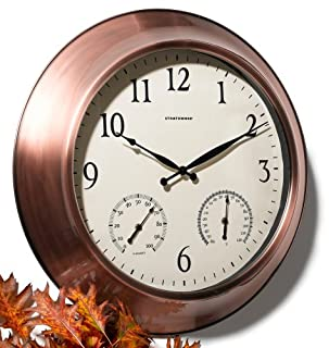 24 Inch Outdoor Thermometer.Strathwood 24 Inch Radio Controlled Indoor Outdoor Clock